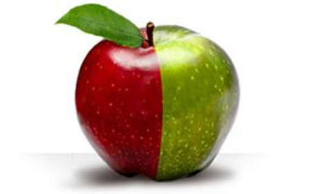 Split Apple Green and Red